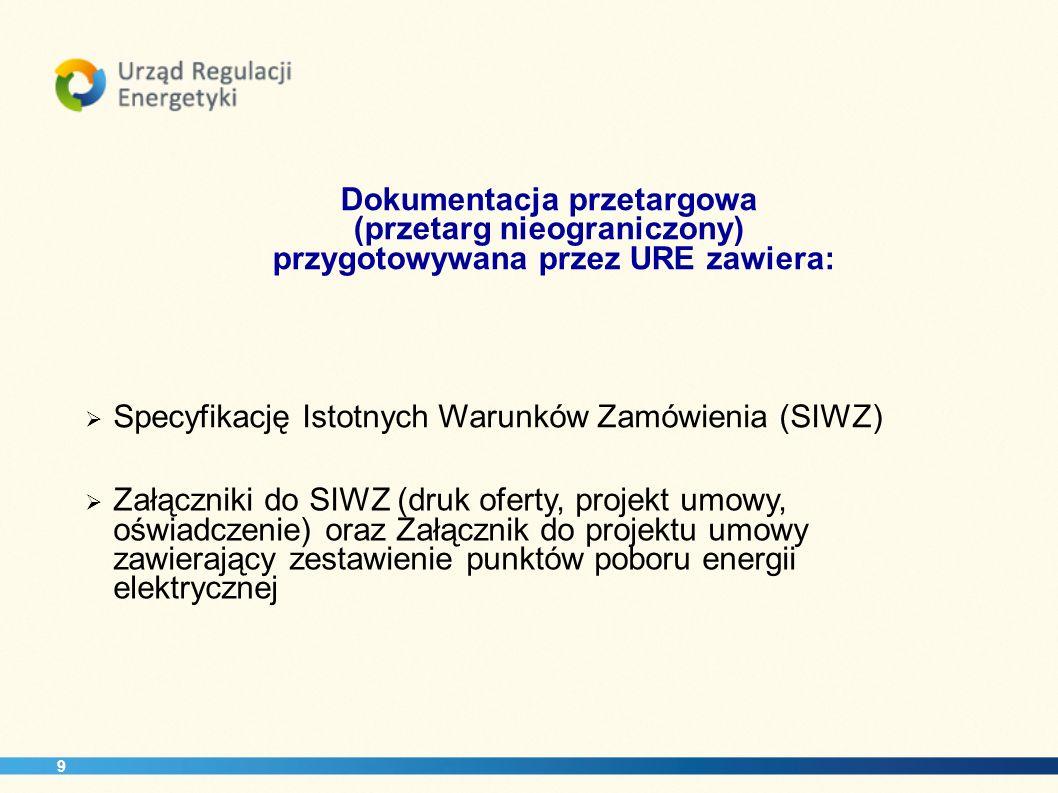 Dokumentacja przetargowa (przetarg nieograniczony) przygotowywana przez URE zawiera: Specyfikację Istotnych Warunków Zamówienia (SIWZ) Załączniki do S