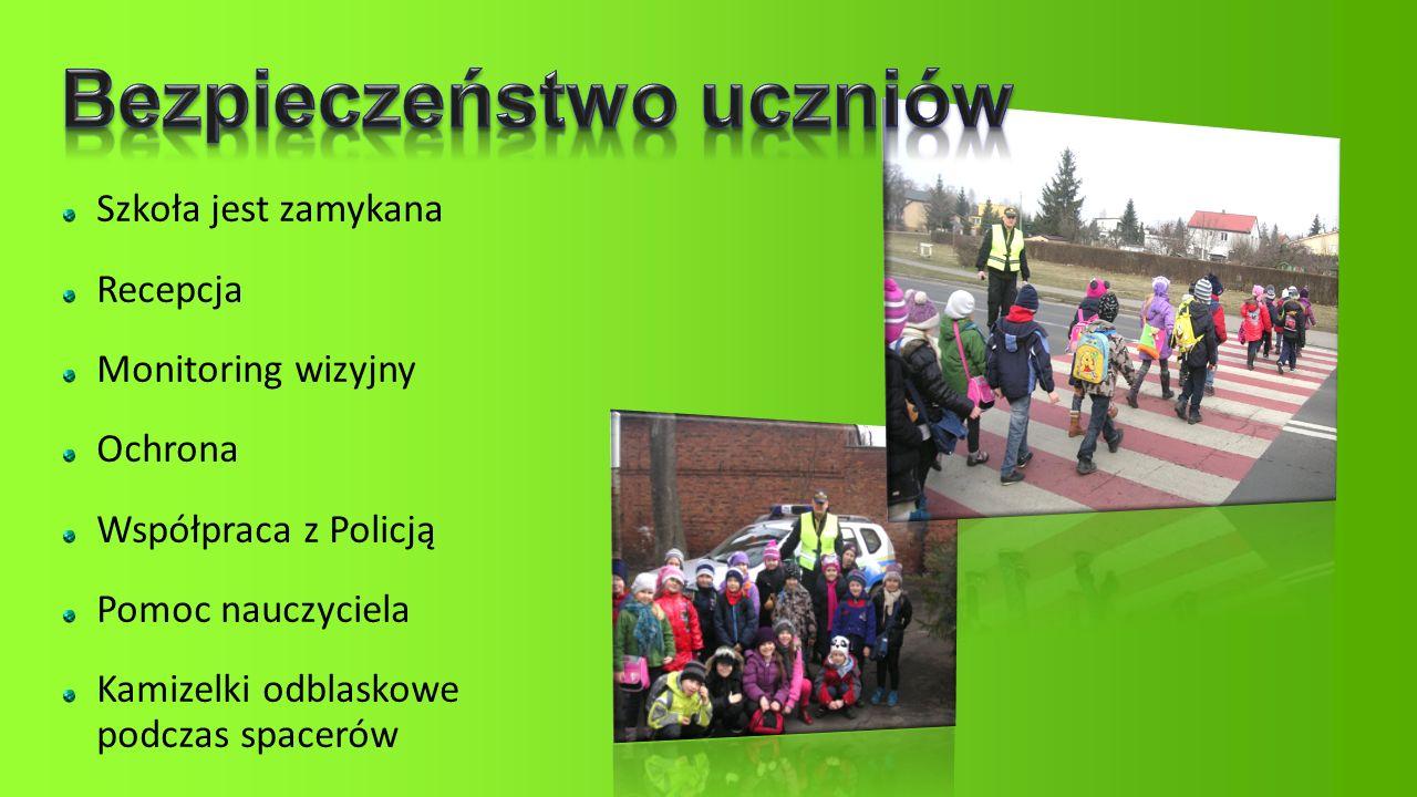 Szkoła jest zamykana Recepcja Monitoring wizyjny Ochrona Współpraca z Policją Pomoc nauczyciela Kamizelki odblaskowe podczas spacerów