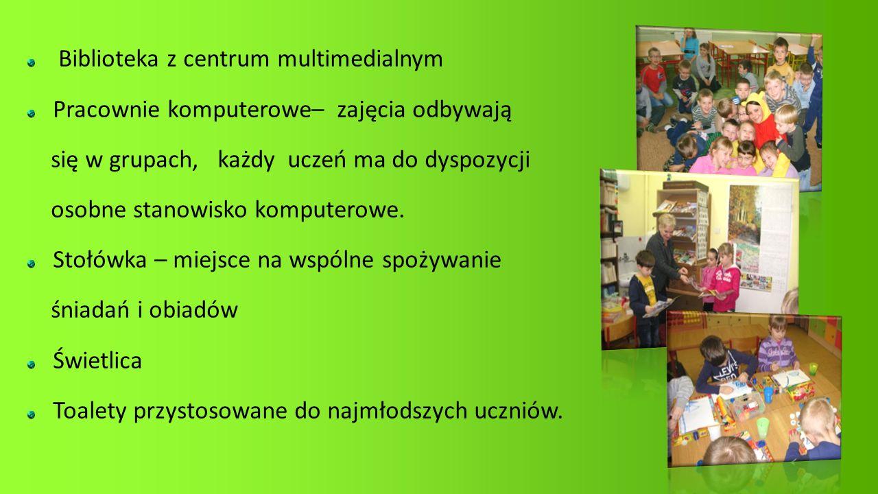 Biblioteka z centrum multimedialnym Pracownie komputerowe– zajęcia odbywają się w grupach, każdy uczeń ma do dyspozycji osobne stanowisko komputerowe.