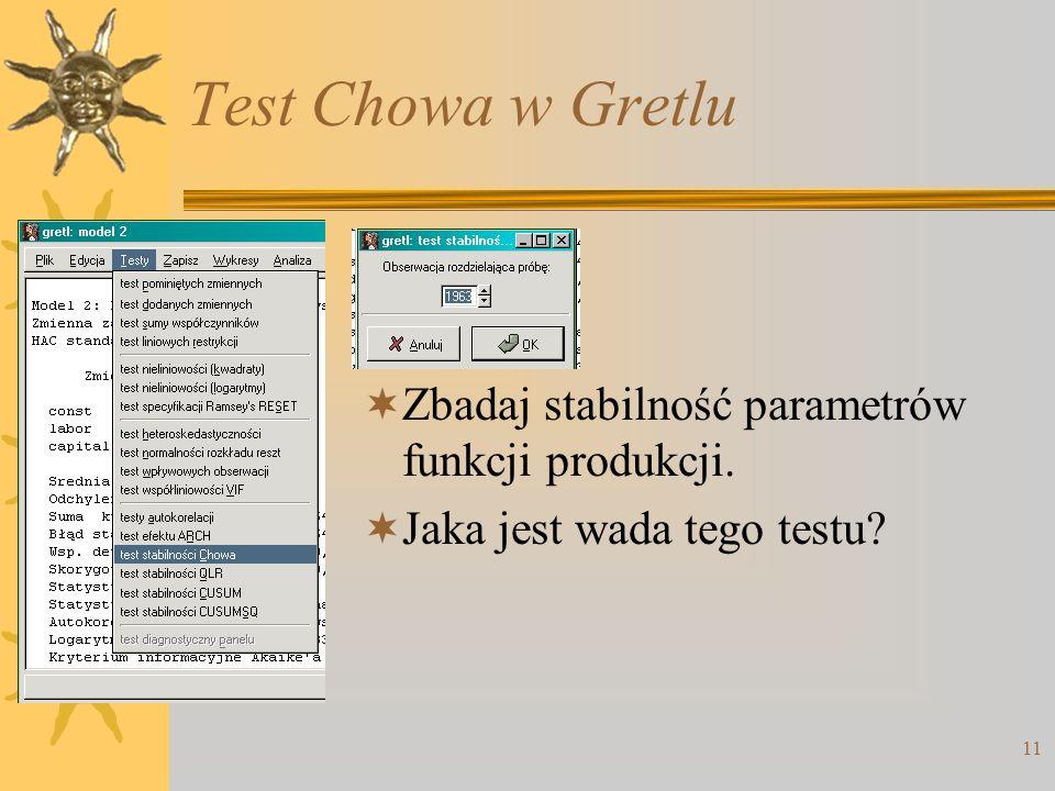11 Test Chowa w Gretlu Zbadaj stabilność parametrów funkcji produkcji. Jaka jest wada tego testu?
