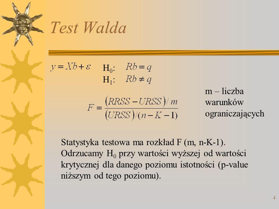 4 Test Walda H0:H0: H1:H1: m – liczba warunków ograniczających Statystyka testowa ma rozkład F (m, n-K-1). Odrzucamy H 0 przy wartości wyższej od wart