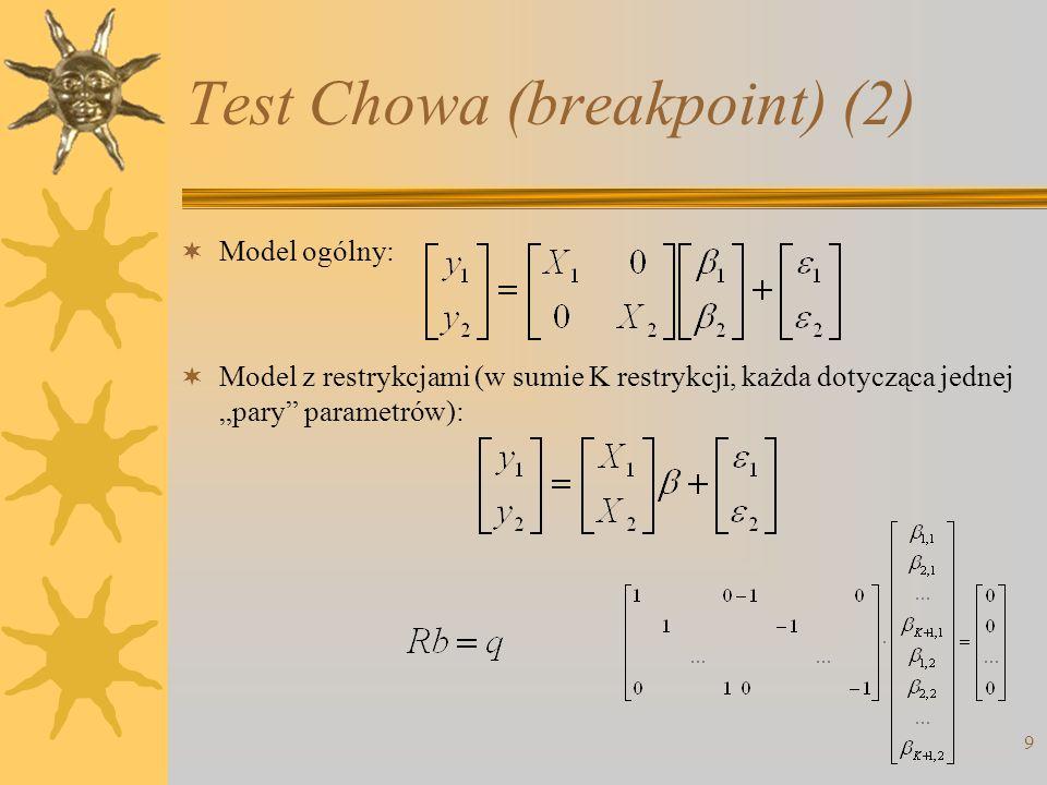 10 Test Chowa (breakpoint) (3) Liczba warunków ograniczających: (K+1) –stałość parametrów przy K zmiennych i przy stałej Liczba stopni swobody dla modelu bez ograniczeń: [n-2(K+1)] –liczba obserwacji minus liczba oszacowanych parametrów Stąd statystyka testowa (test Chowa oparty na analizie wariancji): Rozkład F z (K+1), (n-2K-2) stopniami swobody.