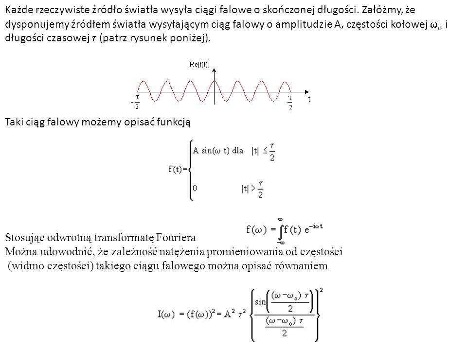 Każde rzeczywiste źródło światła wysyła ciągi falowe o skończonej długości. Załóżmy, że dysponujemy źródłem światła wysyłającym ciąg falowy o amplitud