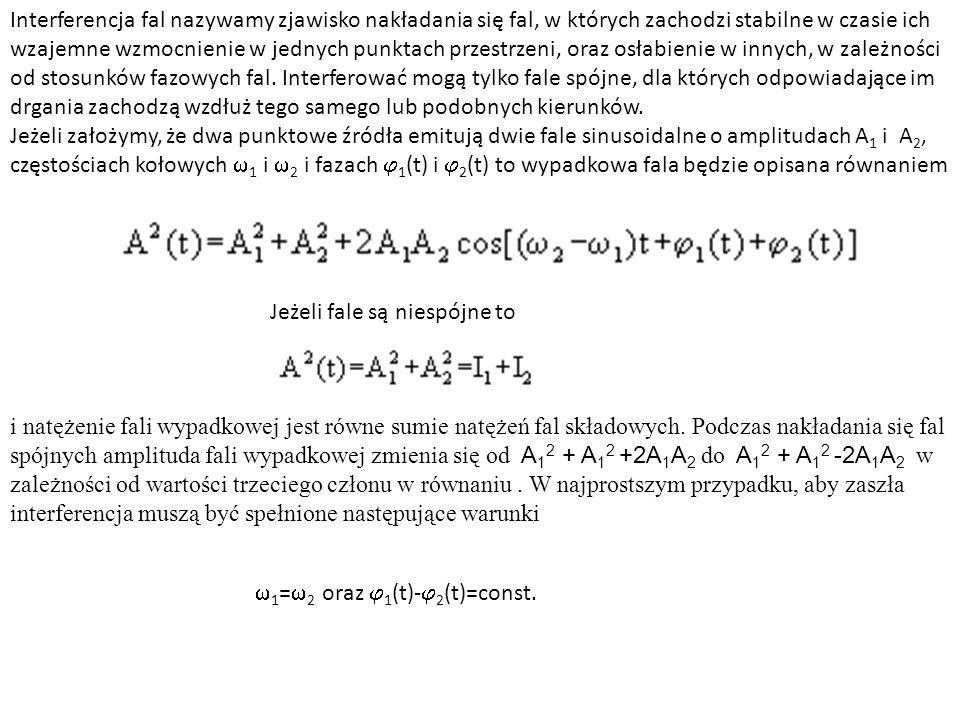 Interferencja ciągów falowych czasieprzestrzeni Superpozycja jest możliwa tylko, gdy ciągi falowe się przekrywają się w czasie i przestrzeni w zgodnych fazach Charakterystyki spójności: długość koherencji - czas trwania ciągu falowego (ew.