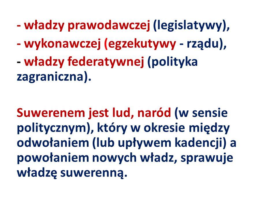 - władzy prawodawczej (legislatywy), - wykonawczej (egzekutywy - rządu), - władzy federatywnej (polityka zagraniczna). Suwerenem jest lud, naród (w se