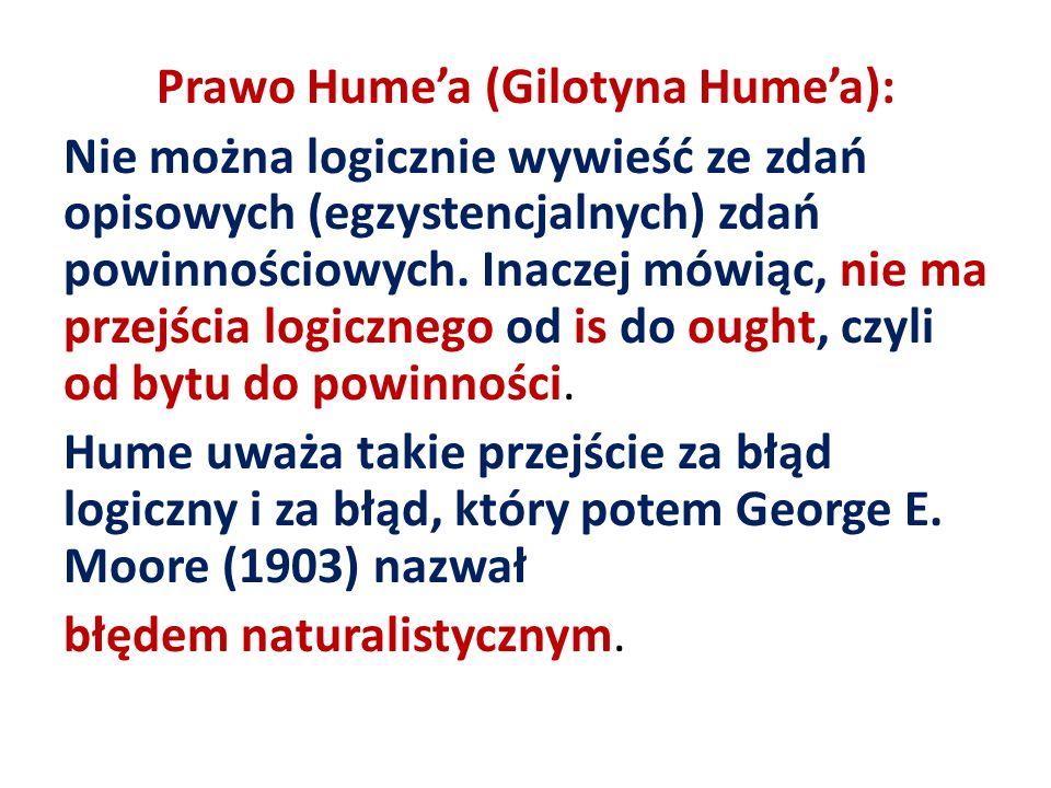 Prawo Humea (Gilotyna Humea): Nie można logicznie wywieść ze zdań opisowych (egzystencjalnych) zdań powinnościowych. Inaczej mówiąc, nie ma przejścia