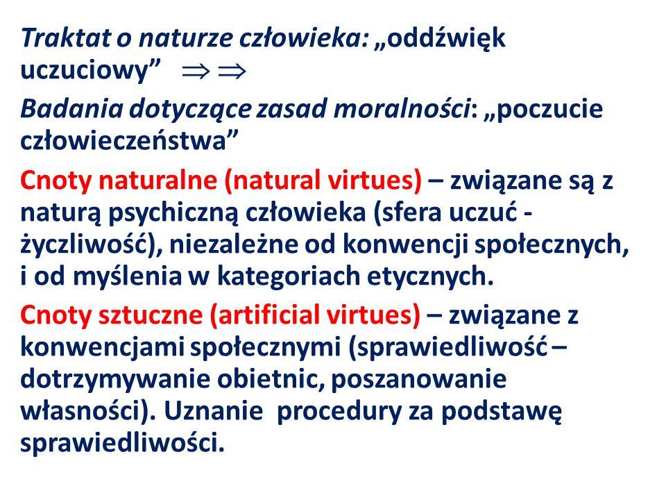 Traktat o naturze człowieka: oddźwięk uczuciowy Badania dotyczące zasad moralności: poczucie człowieczeństwa Cnoty naturalne (natural virtues) – związ