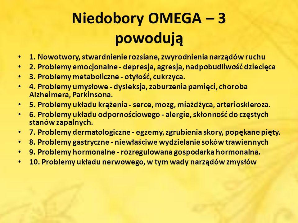 Niedobory OMEGA – 3 powodują 1. Nowotwory, stwardnienie rozsiane, zwyrodnienia narządów ruchu 2. Problemy emocjonalne - depresja, agresja, nadpobudliw