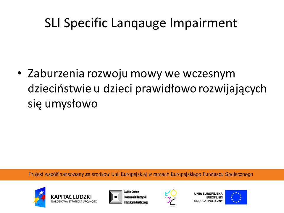 SLI Specific Lanqauge Impairment Zaburzenia rozwoju mowy we wczesnym dzieciństwie u dzieci prawidłowo rozwijających się umysłowo