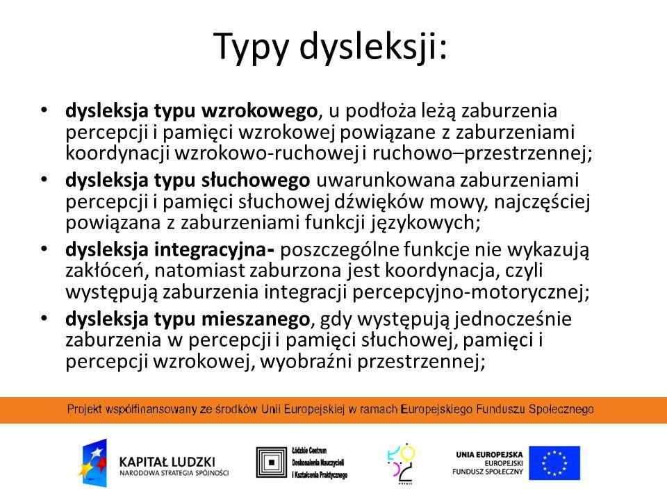 Typy dysleksji: dysleksja typu wzrokowego, u podłoża leżą zaburzenia percepcji i pamięci wzrokowej powiązane z zaburzeniami koordynacji wzrokowo-rucho