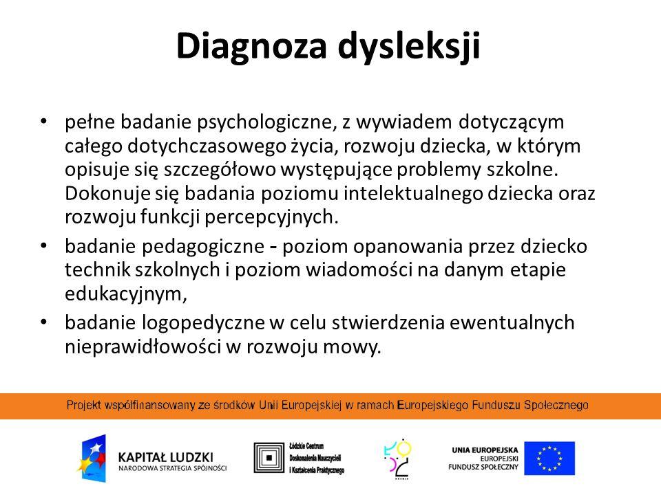 Diagnoza dysleksji pełne badanie psychologiczne, z wywiadem dotyczącym całego dotychczasowego życia, rozwoju dziecka, w którym opisuje się szczegółowo
