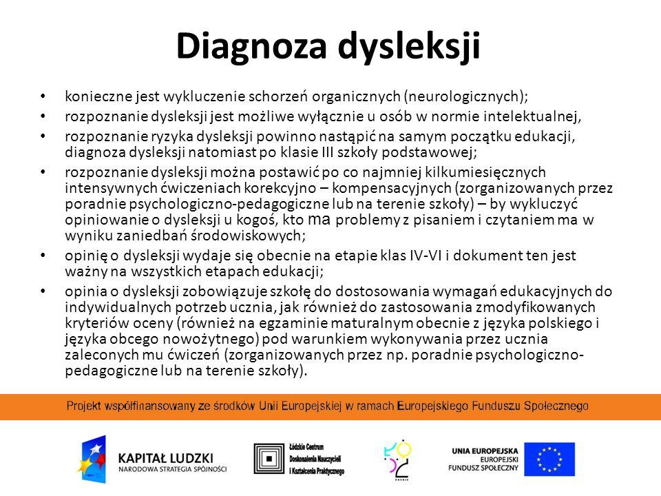 Diagnoza dysleksji konieczne jest wykluczenie schorzeń organicznych (neurologicznych); rozpoznanie dysleksji jest możliwe wyłącznie u osób w normie in