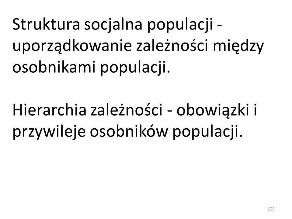Struktura socjalna populacji - uporządkowanie zależności między osobnikami populacji. Hierarchia zależności - obowiązki i przywileje osobników populac