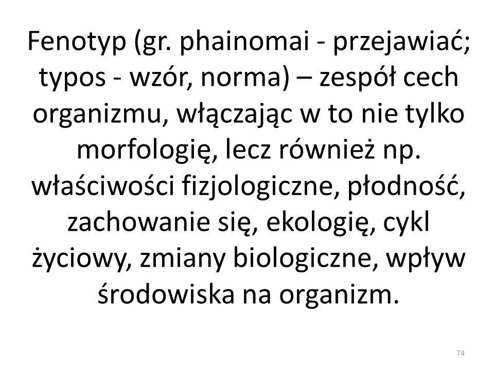 Fenotyp (gr. phainomai - przejawiać; typos - wzór, norma) – zespół cech organizmu, włączając w to nie tylko morfologię, lecz również np. właściwości f
