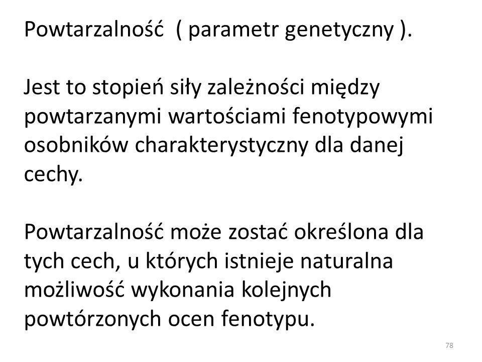Powtarzalność ( parametr genetyczny ). Jest to stopień siły zależności między powtarzanymi wartościami fenotypowymi osobników charakterystyczny dla da