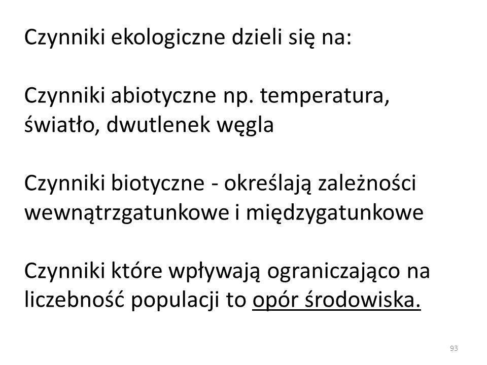 Czynniki ekologiczne dzieli się na: Czynniki abiotyczne np. temperatura, światło, dwutlenek węgla Czynniki biotyczne - określają zależności wewnątrzga