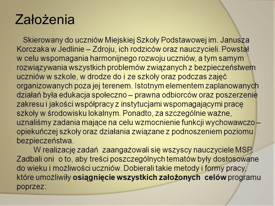 Założenia Skierowany do uczniów Miejskiej Szkoły Podstawowej im. Janusza Korczaka w Jedlinie – Zdroju, ich rodziców oraz nauczycieli. Powstał w celu w