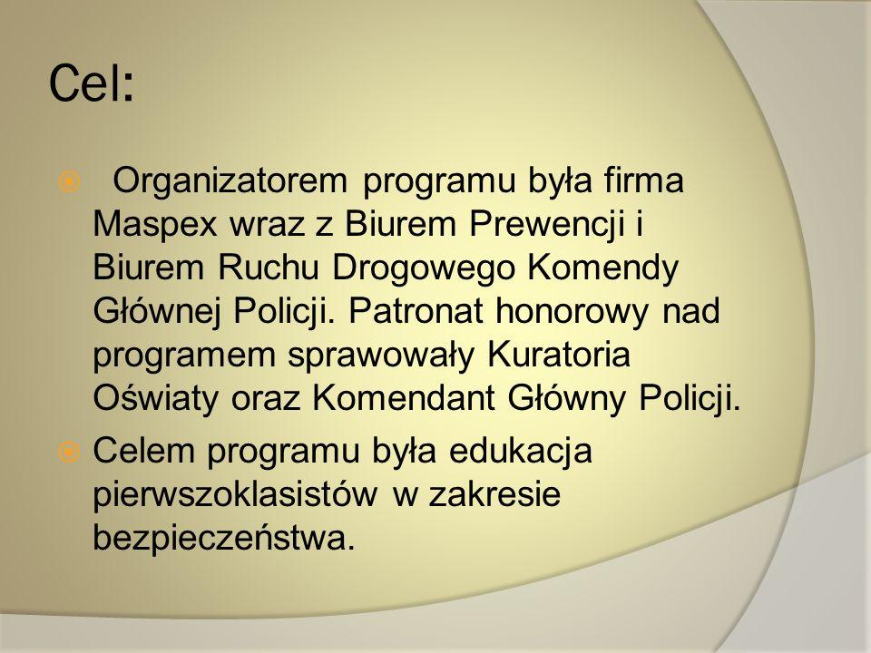 Cel: Organizatorem programu była firma Maspex wraz z Biurem Prewencji i Biurem Ruchu Drogowego Komendy Głównej Policji. Patronat honorowy nad programe