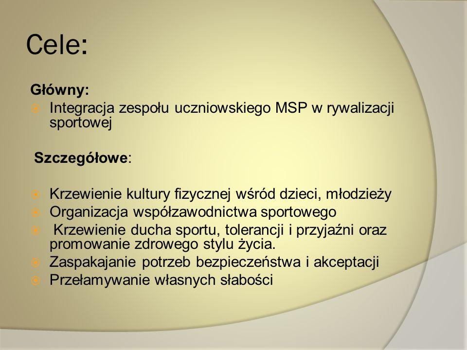 Cele: Główny: Integracja zespołu uczniowskiego MSP w rywalizacji sportowej Szczegółowe: Krzewienie kultury fizycznej wśród dzieci, młodzieży Organizac