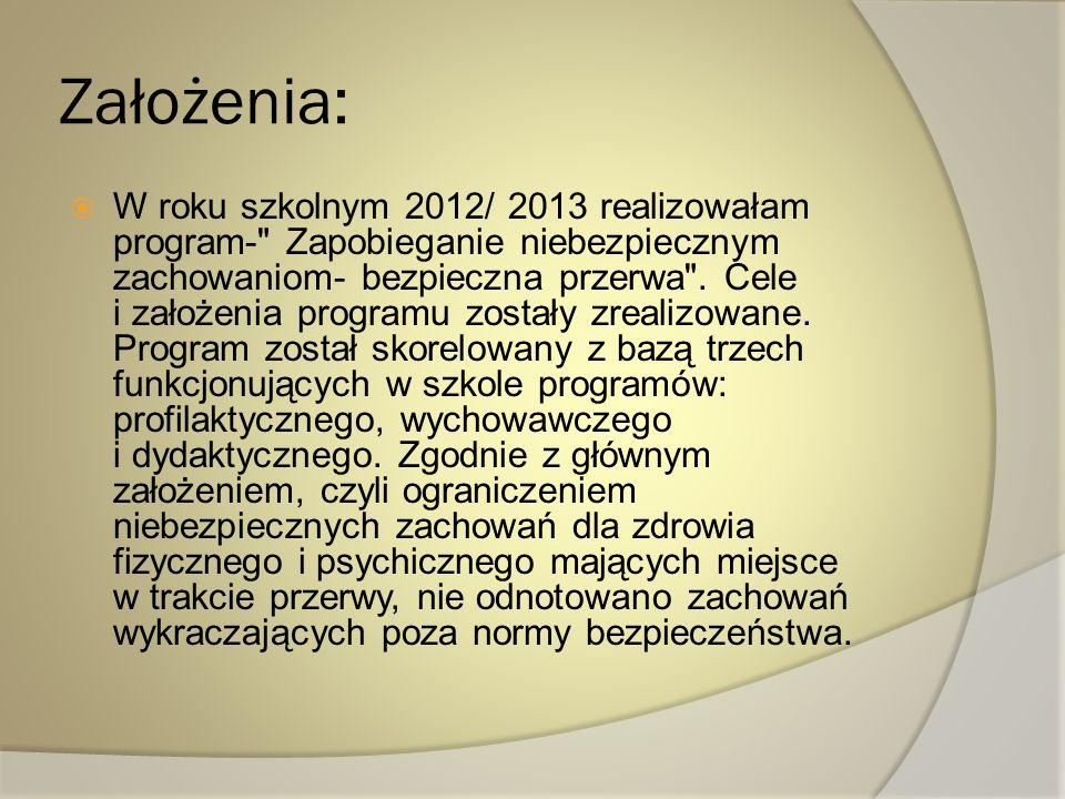 Założenia: W roku szkolnym 2012/ 2013 realizowałam program-