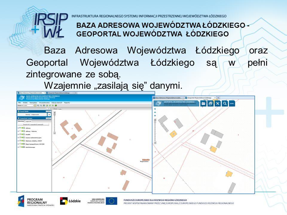 Baza Adresowa Województwa Łódzkiego oraz Geoportal Województwa Łódzkiego są w pełni zintegrowane ze sobą.