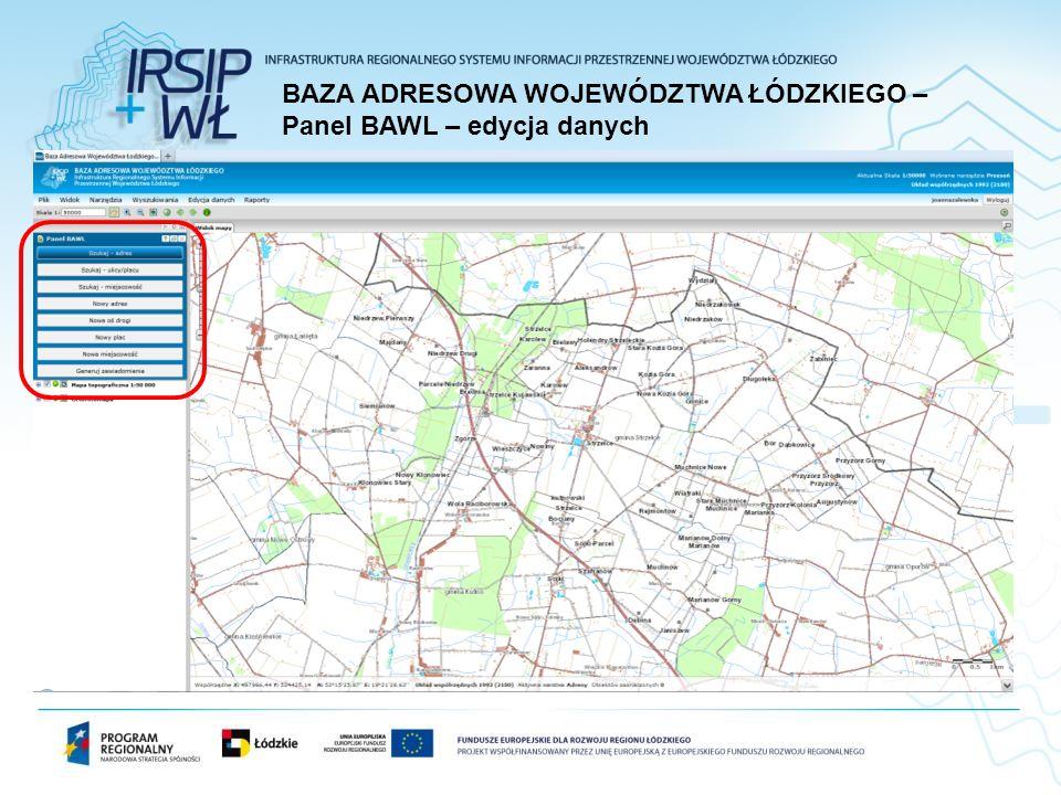 BAZA ADRESOWA WOJEWÓDZTWA ŁÓDZKIEGO – Panel BAWL – edycja danych
