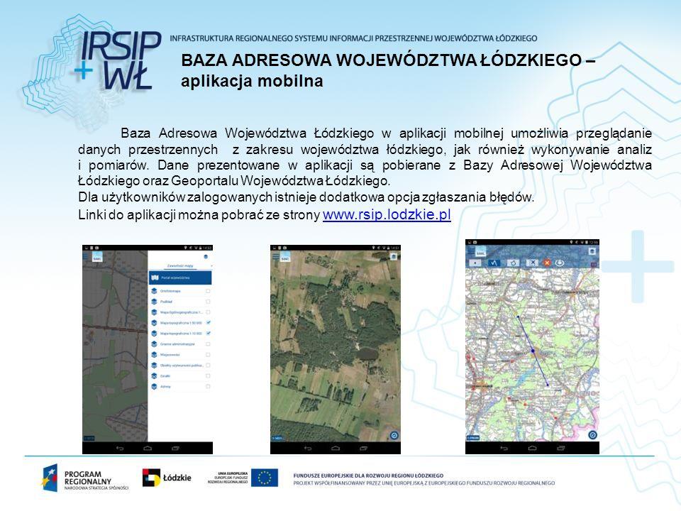 Baza Adresowa Województwa Łódzkiego w aplikacji mobilnej umożliwia przeglądanie danych przestrzennych z zakresu województwa łódzkiego, jak również wykonywanie analiz i pomiarów.