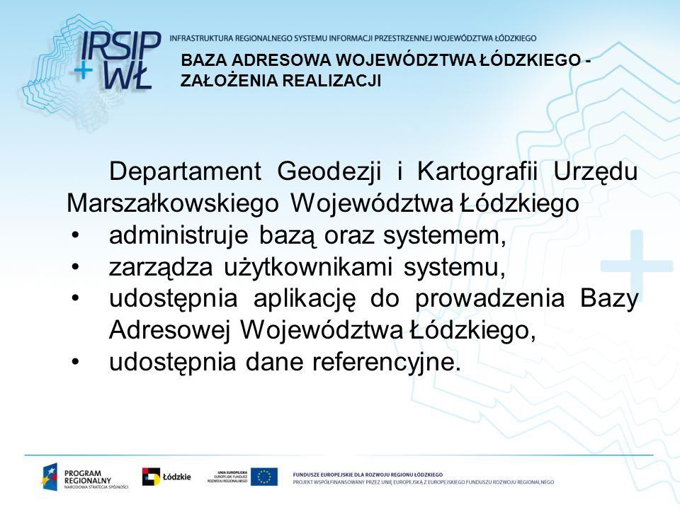 Departament Geodezji i Kartografii Urzędu Marszałkowskiego Województwa Łódzkiego administruje bazą oraz systemem, zarządza użytkownikami systemu, udostępnia aplikację do prowadzenia Bazy Adresowej Województwa Łódzkiego, udostępnia dane referencyjne.