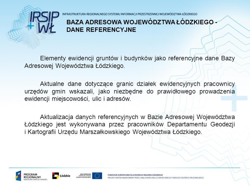 Elementy ewidencji gruntów i budynków jako referencyjne dane Bazy Adresowej Województwa Łódzkiego.