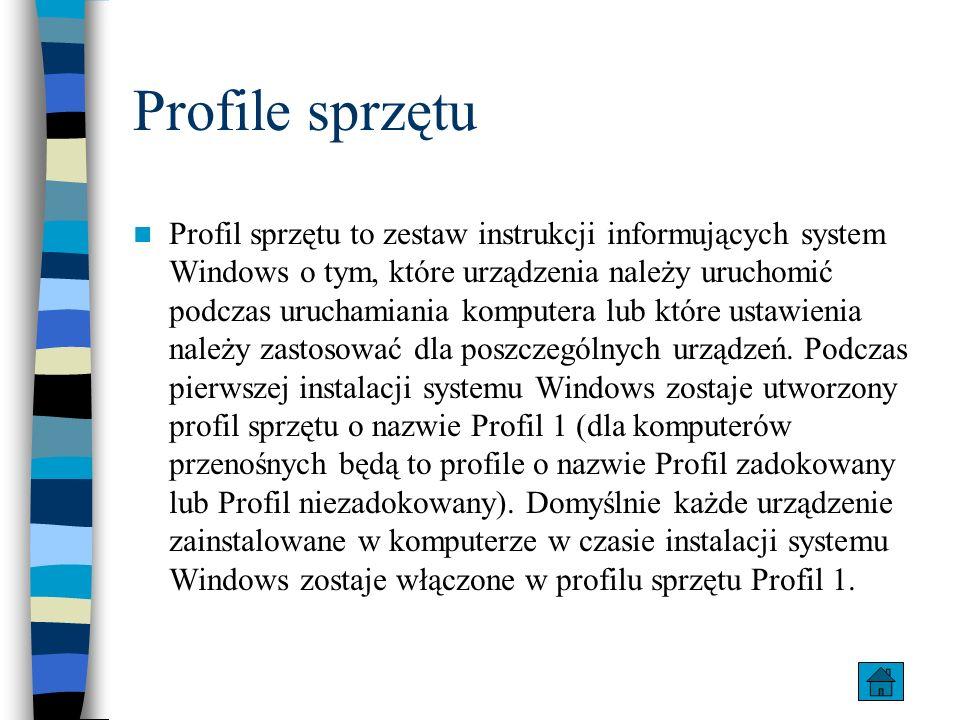 Profile sprzętu Profil sprzętu to zestaw instrukcji informujących system Windows o tym, które urządzenia należy uruchomić podczas uruchamiania kompute