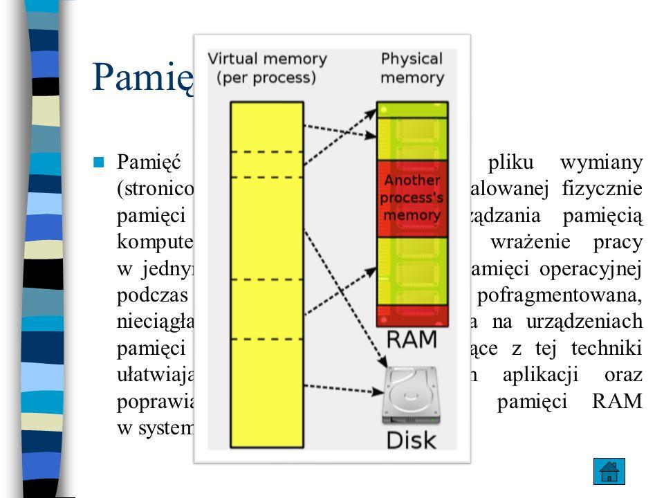 Pamięć wirtualna Pamięć wirtualna składa się z pliku wymiany (stronicowania - pagefile.sys) i zainstalowanej fizycznie pamięci RAM – mechanizm zarządz