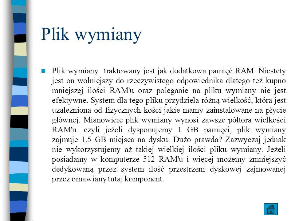 Plik wymiany Plik wymiany traktowany jest jak dodatkowa pamięć RAM. Niestety jest on wolniejszy do rzeczywistego odpowiednika dlatego też kupno mniejs