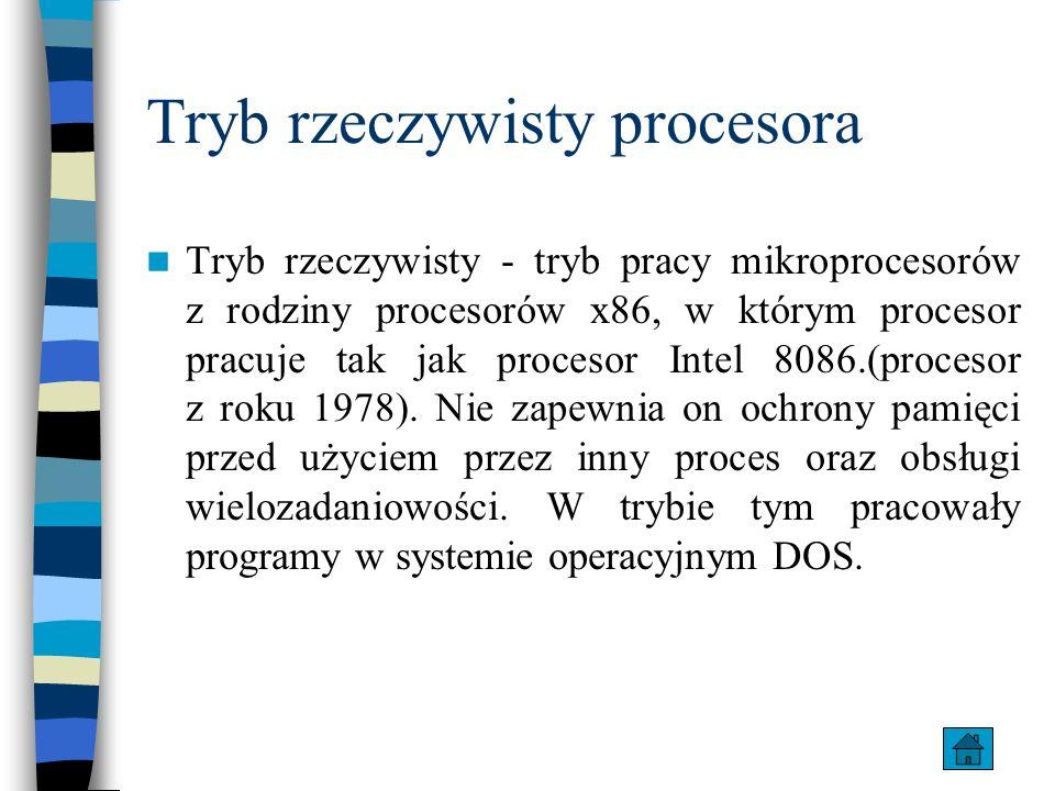Tryb rzeczywisty procesora Tryb rzeczywisty - tryb pracy mikroprocesorów z rodziny procesorów x86, w którym procesor pracuje tak jak procesor Intel 80