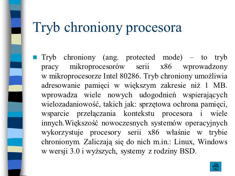 Tryb chroniony procesora Tryb chroniony (ang. protected mode) – to tryb pracy mikroprocesorów serii x86 wprowadzony w mikroprocesorze Intel 80286. Try