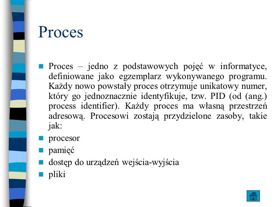 Proces Proces – jedno z podstawowych pojęć w informatyce, definiowane jako egzemplarz wykonywanego programu. Każdy nowo powstały proces otrzymuje unik