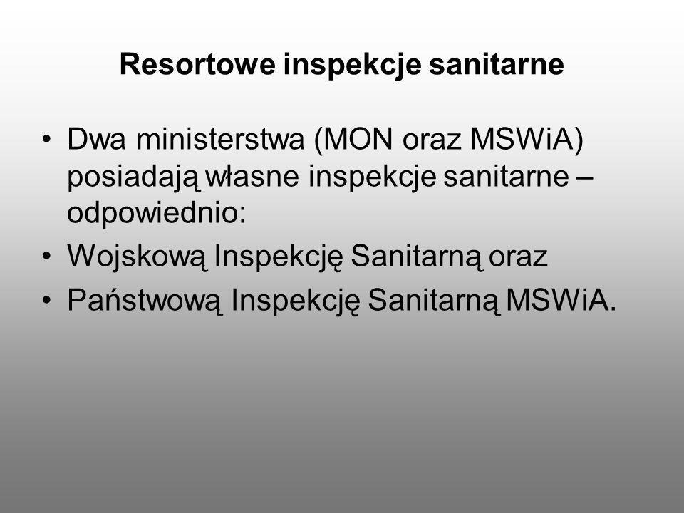 Resortowe inspekcje sanitarne Dwa ministerstwa (MON oraz MSWiA) posiadają własne inspekcje sanitarne – odpowiednio: Wojskową Inspekcję Sanitarną oraz
