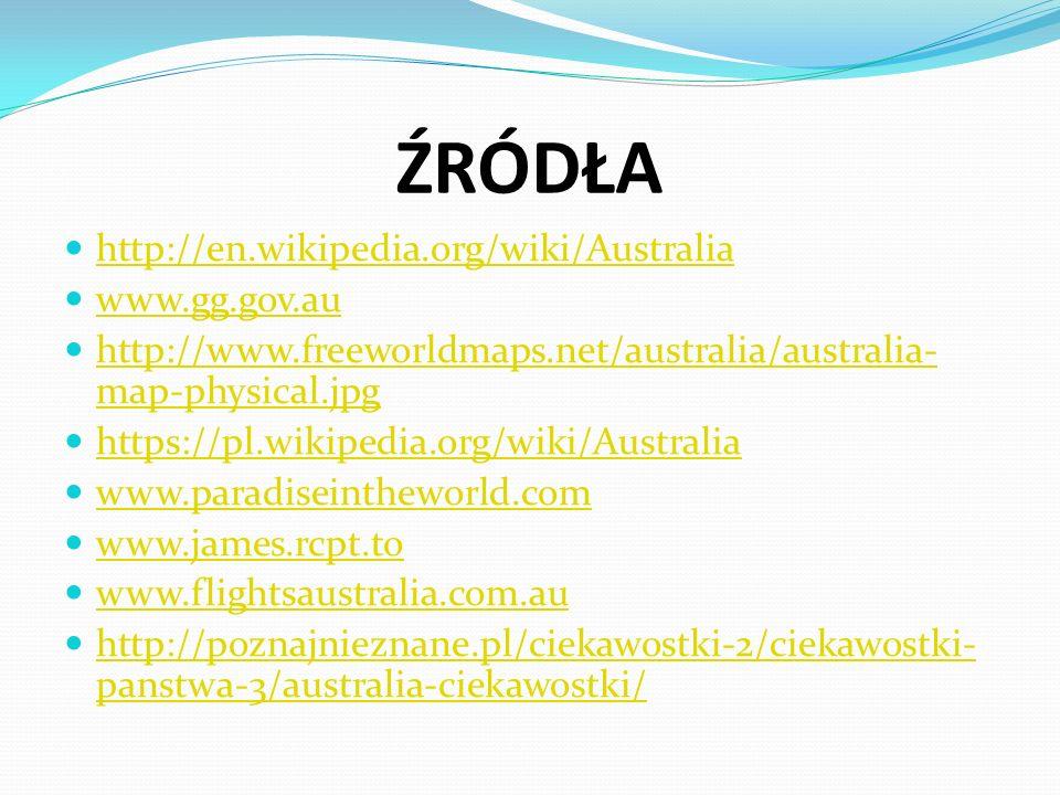 ŹRÓDŁA http://en.wikipedia.org/wiki/Australia www.gg.gov.au http://www.freeworldmaps.net/australia/australia- map-physical.jpg http://www.freeworldmaps.net/australia/australia- map-physical.jpg https://pl.wikipedia.org/wiki/Australia www.paradiseintheworld.com www.james.rcpt.to www.flightsaustralia.com.au http://poznajnieznane.pl/ciekawostki-2/ciekawostki- panstwa-3/australia-ciekawostki/ http://poznajnieznane.pl/ciekawostki-2/ciekawostki- panstwa-3/australia-ciekawostki/