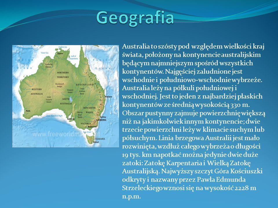 Australia to szósty pod względem wielkości kraj świata, położony na kontynencie australijskim będącym najmniejszym spośród wszystkich kontynentów.