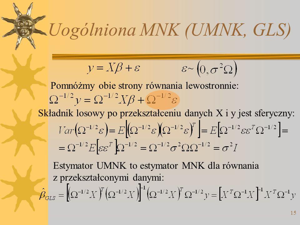 Uogólniona MNK (UMNK, GLS) 15 ~ Pomnóżmy obie strony równania lewostronnie: Składnik losowy po przekształceniu danych X i y jest sferyczny: Estymator