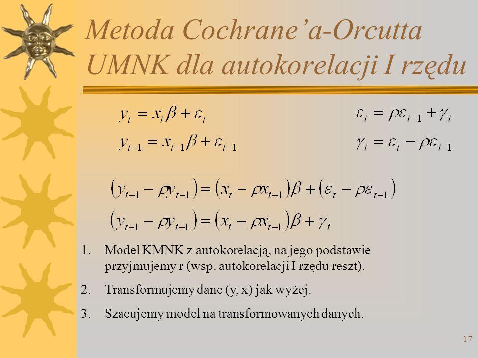 Metoda Cochranea-Orcutta UMNK dla autokorelacji I rzędu 17 1.Model KMNK z autokorelacją, na jego podstawie przyjmujemy r (wsp. autokorelacji I rzędu r