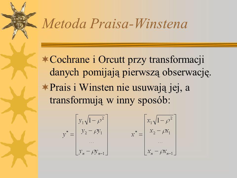 Metoda Praisa-Winstena Cochrane i Orcutt przy transformacji danych pomijają pierwszą obserwację. Prais i Winsten nie usuwają jej, a transformują w inn