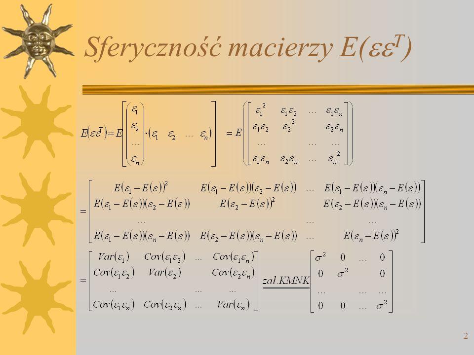 Sferyczność macierzy E( T ) 2