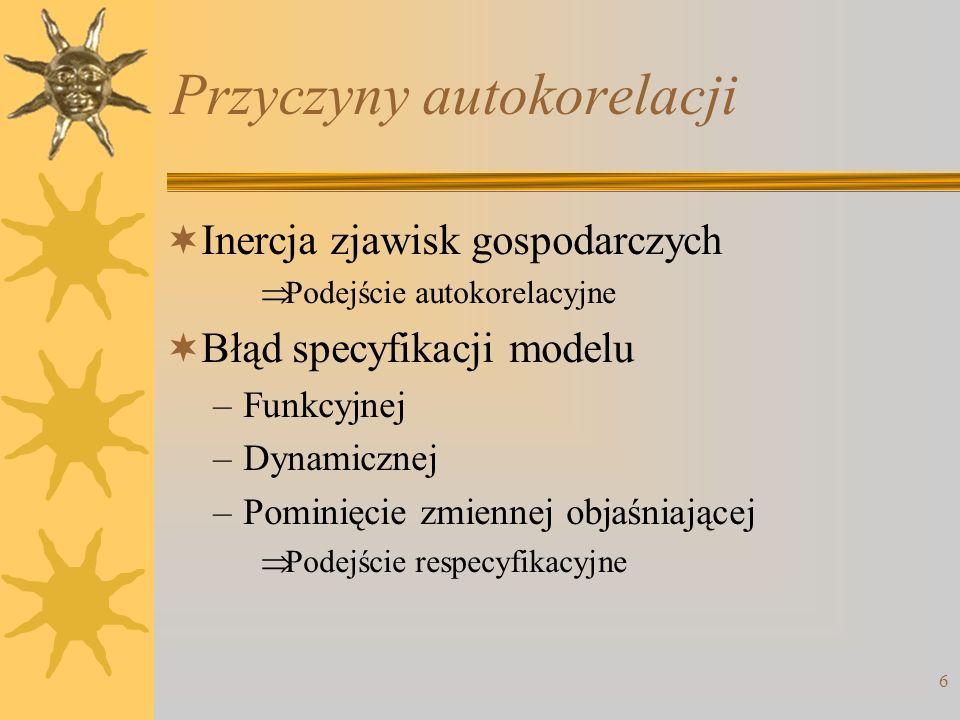 Przyczyny autokorelacji Inercja zjawisk gospodarczych Podejście autokorelacyjne Błąd specyfikacji modelu –Funkcyjnej –Dynamicznej –Pominięcie zmiennej