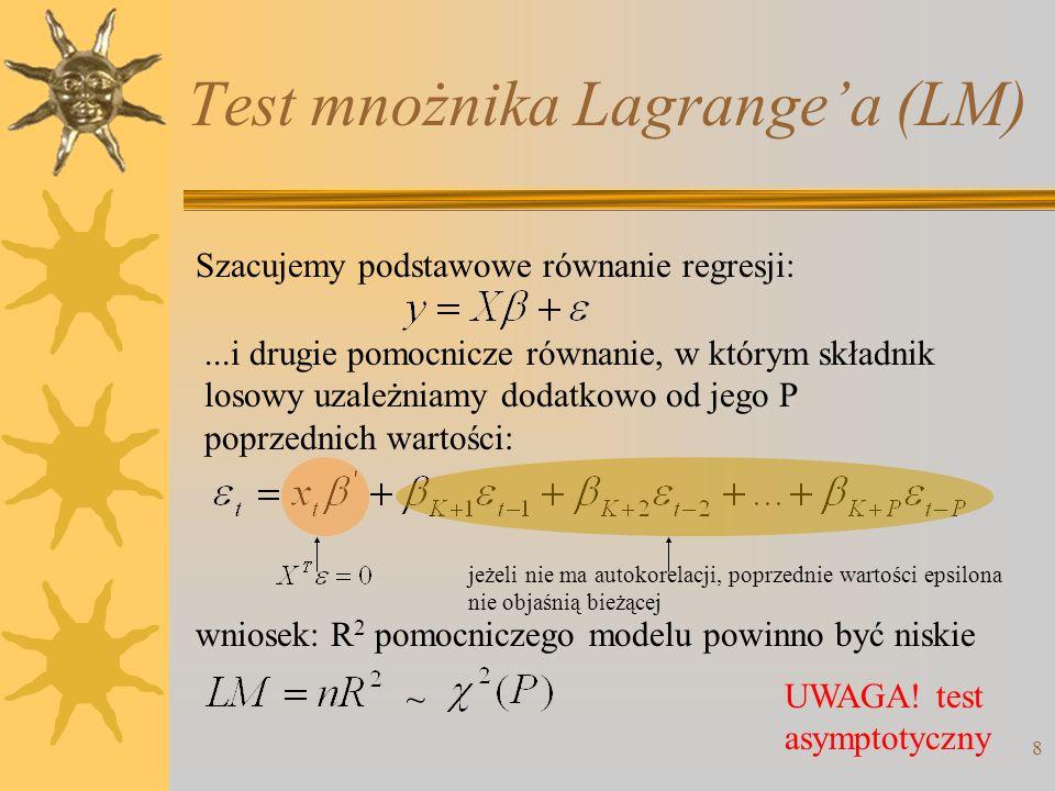 Test mnożnika Lagrangea (LM) 8 Szacujemy podstawowe równanie regresji:...i drugie pomocnicze równanie, w którym składnik losowy uzależniamy dodatkowo