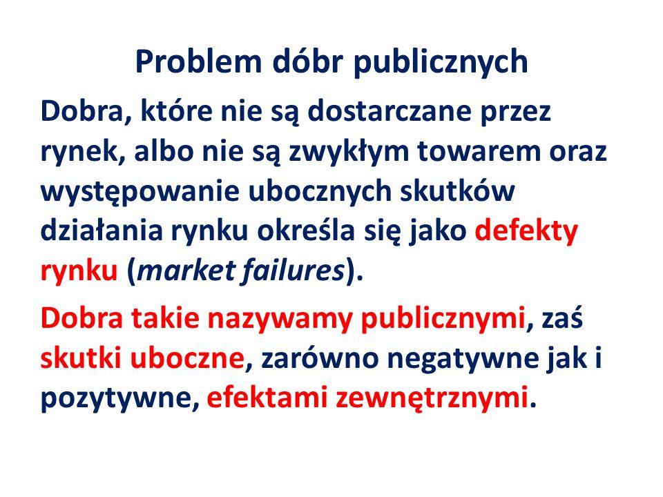 Problem dóbr publicznych Dobra, które nie są dostarczane przez rynek, albo nie są zwykłym towarem oraz występowanie ubocznych skutków działania rynku