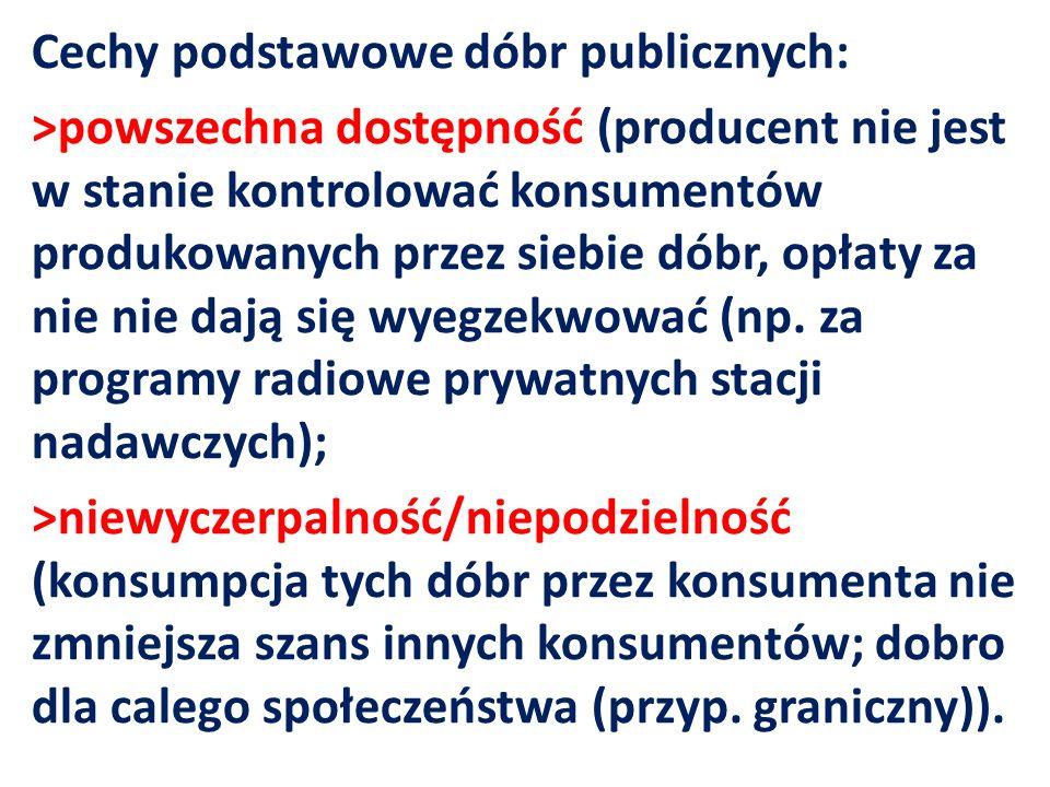 Cechy podstawowe dóbr publicznych: >powszechna dostępność (producent nie jest w stanie kontrolować konsumentów produkowanych przez siebie dóbr, opłaty