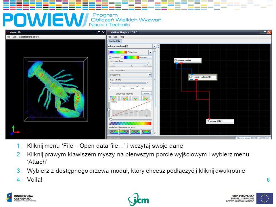 VisNow – interfejs użytkownika VisNow – interfejs użytkownika Interfejs modułu Biblioteka modułówPrzestrzeń robocza Tworzenie modułu