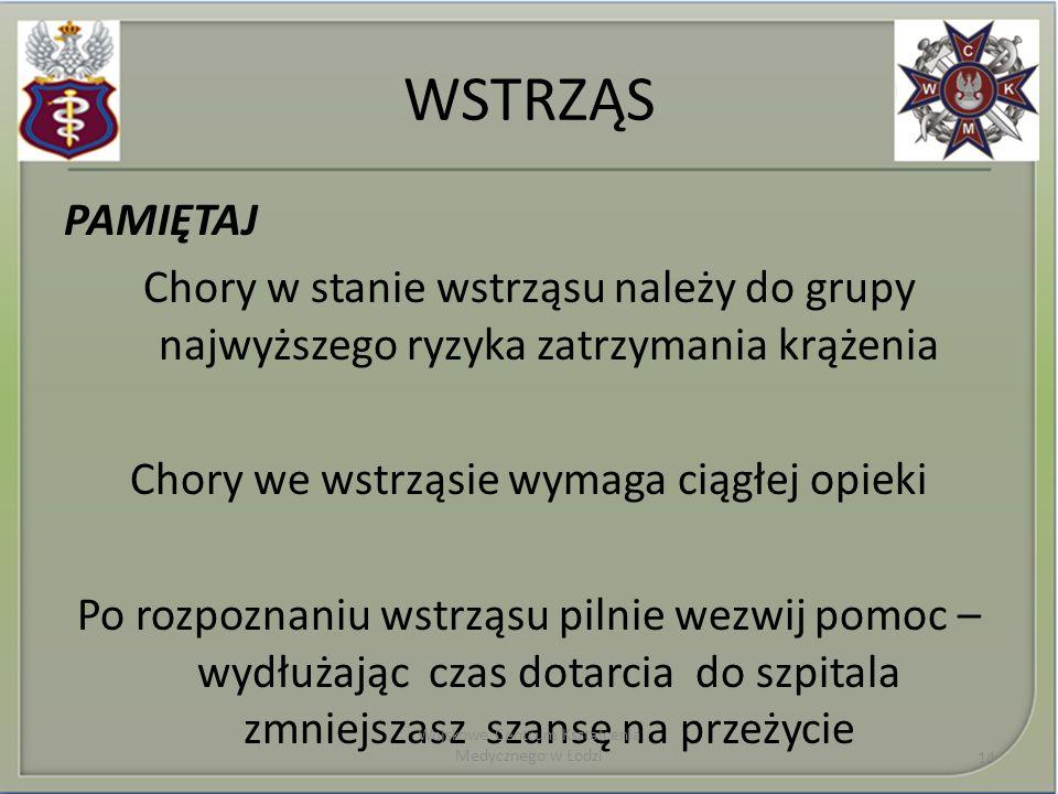 WSTRZĄS PAMIĘTAJ Chory w stanie wstrząsu należy do grupy najwyższego ryzyka zatrzymania krążenia Chory we wstrząsie wymaga ciągłej opieki Po rozpoznaniu wstrząsu pilnie wezwij pomoc – wydłużając czas dotarcia do szpitala zmniejszasz szansę na przeżycie Wojskowe Centrum Kształcenia Medycznego w Łodzi 14
