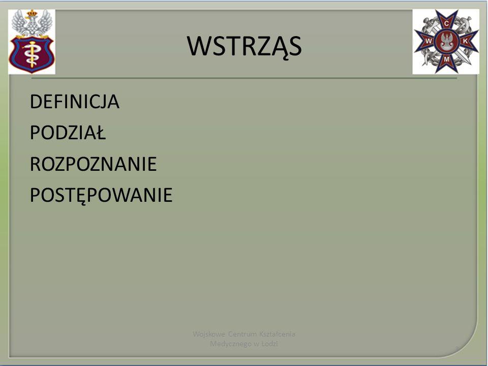 WSTRZĄS DEFINICJA PODZIAŁ ROZPOZNANIE POSTĘPOWANIE Wojskowe Centrum Kształcenia Medycznego w Łodzi 3