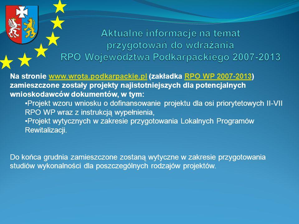 Na stronie www.wrota.podkarpackie.pl (zakładka RPO WP 2007-2013) zamieszczone zostały projekty najistotniejszych dla potencjalnych wnioskodawców dokum